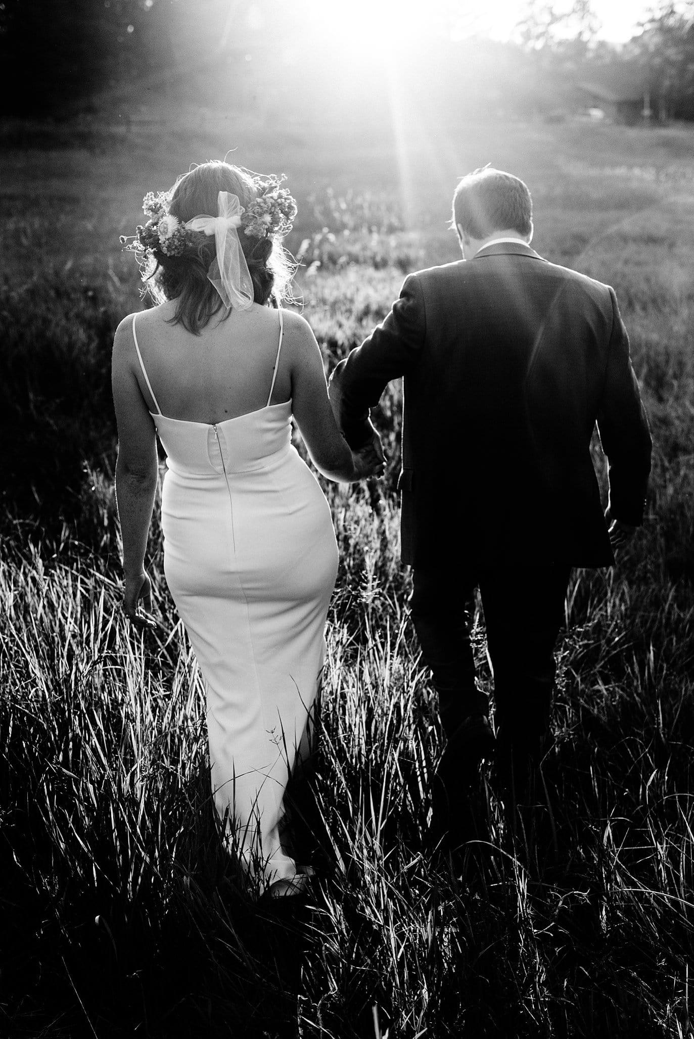 sunset walk on wedding day photo