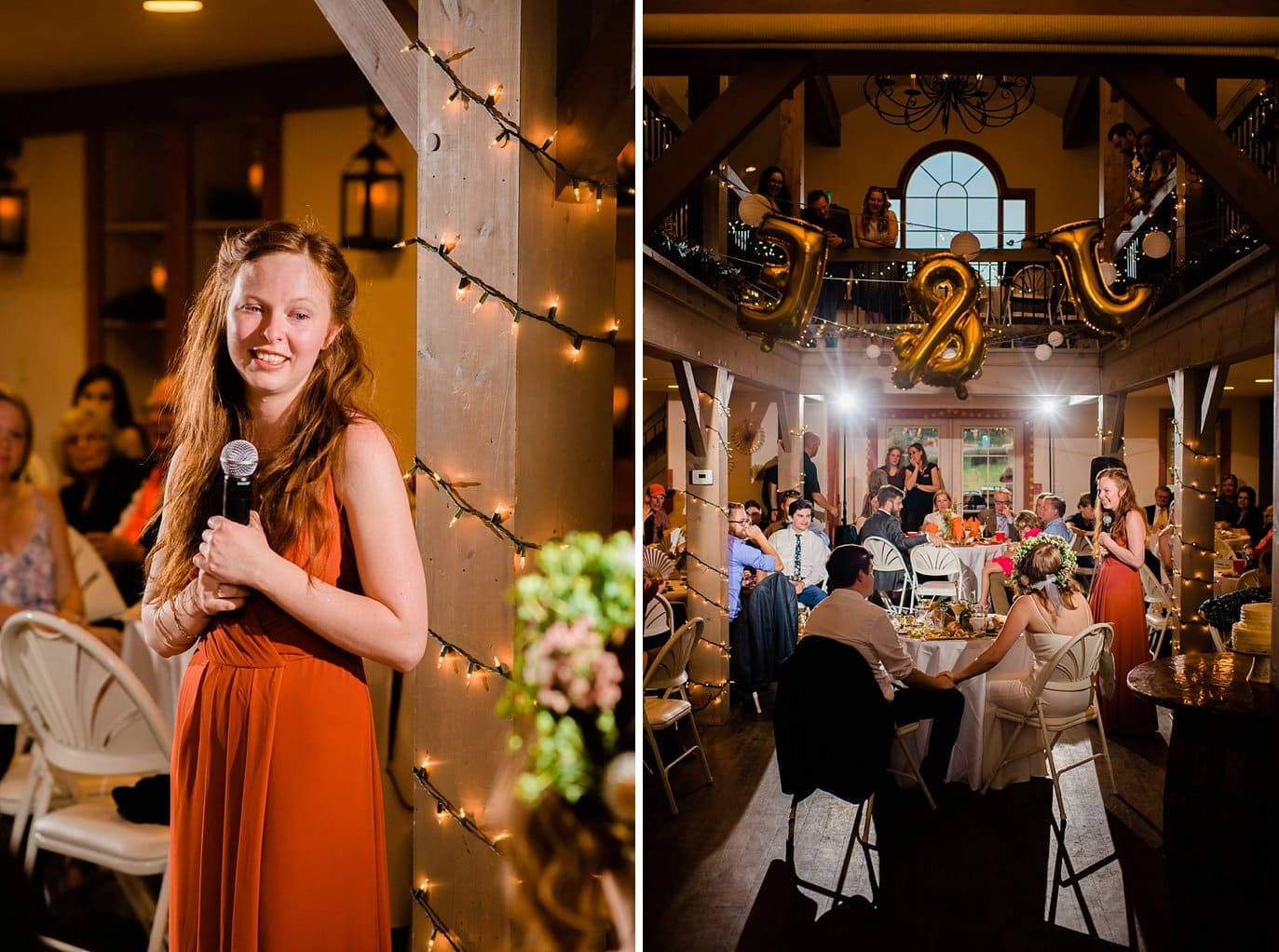 toasts inside at Evergreen Red Barn wedding photo