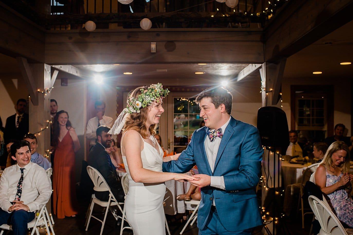first dance in Evergreen Red Barn wedding photo