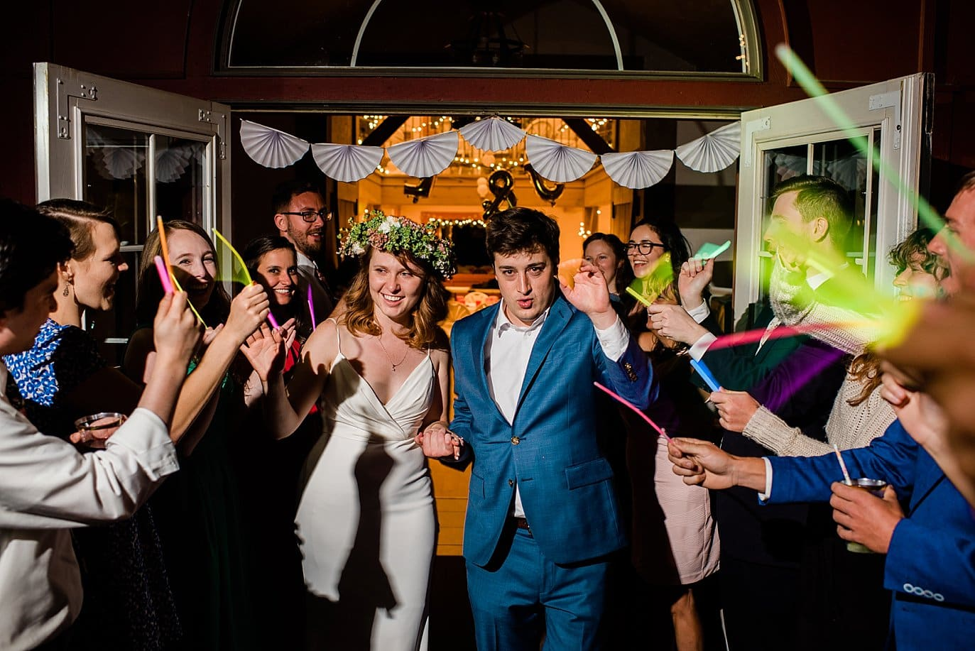 glow stick exit at wedding photo
