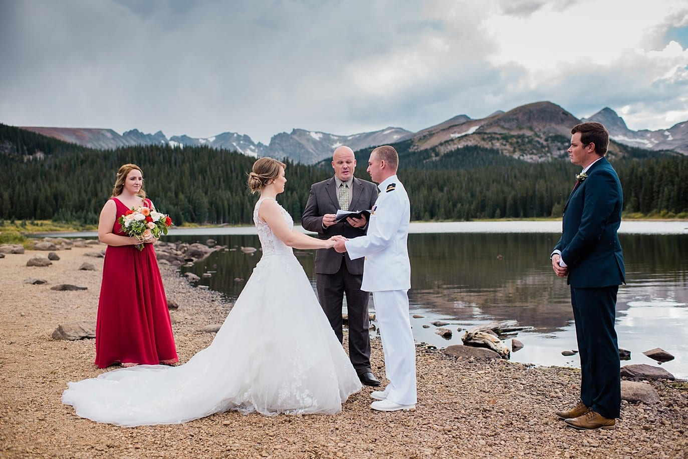 bride and groom elope outdoors in Colorado mountains by Colorado Wedding photographer, Jennie Crate