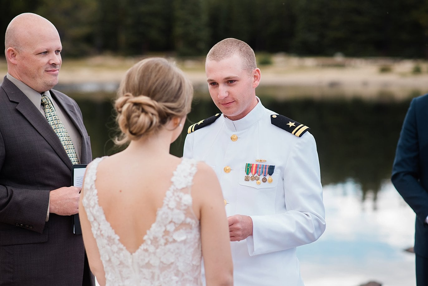 vow reading at lakeside Colorado elopement