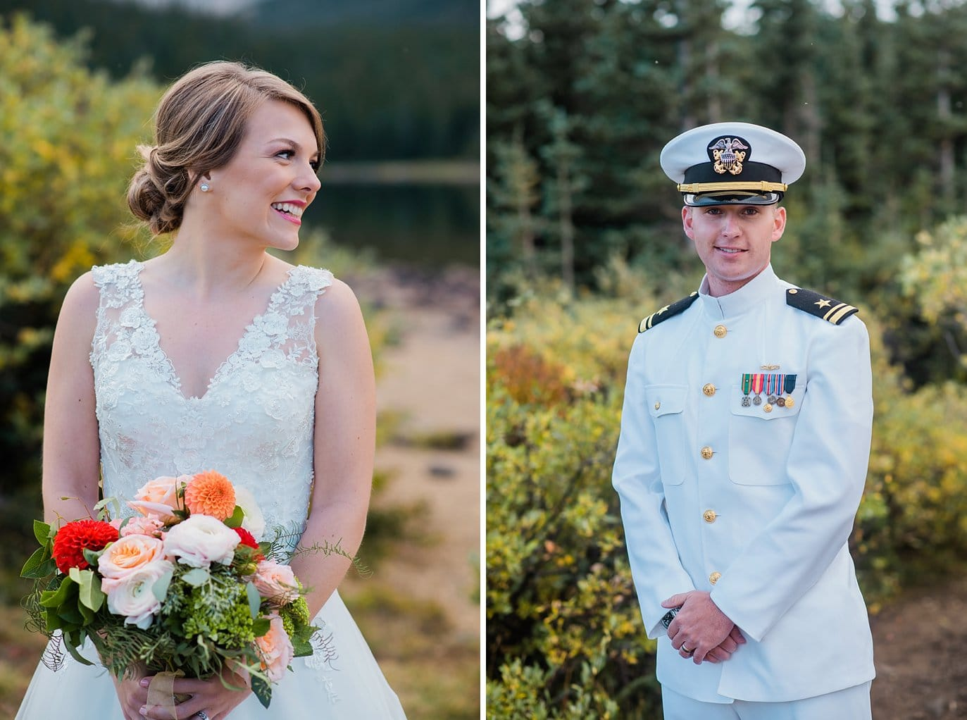 bride in lace ballgown and groom in Navy military dress whites