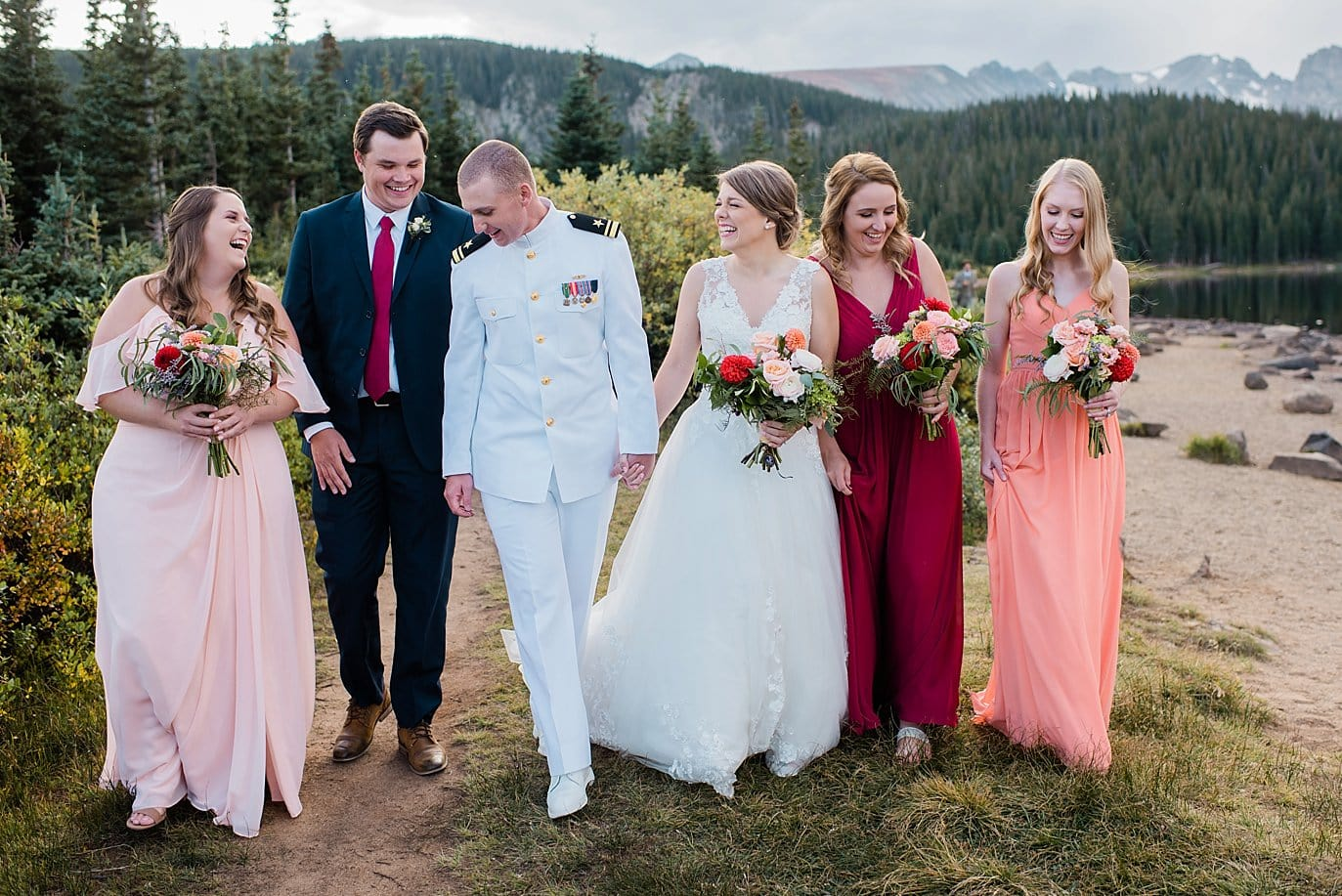 bridal party in shades of peach and navy at fall Brainard Lake Elopement