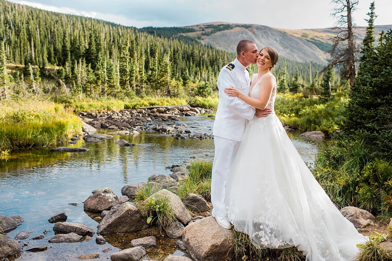 Bride and groom at Long Lake Elopement
