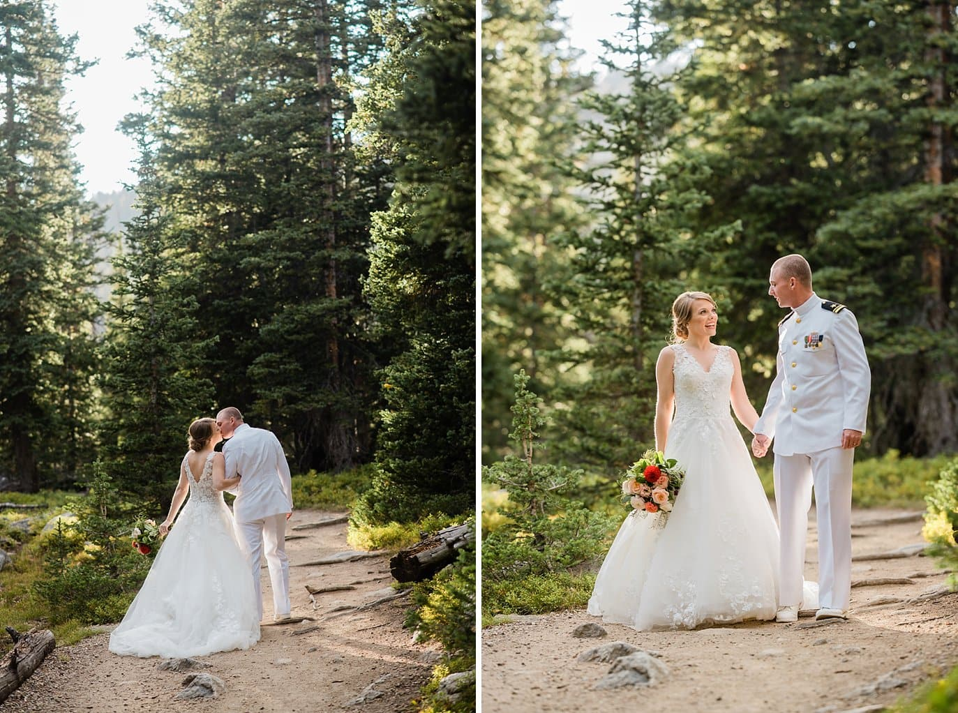 bride and groom walk through evergreen forest at Colorado Elopement