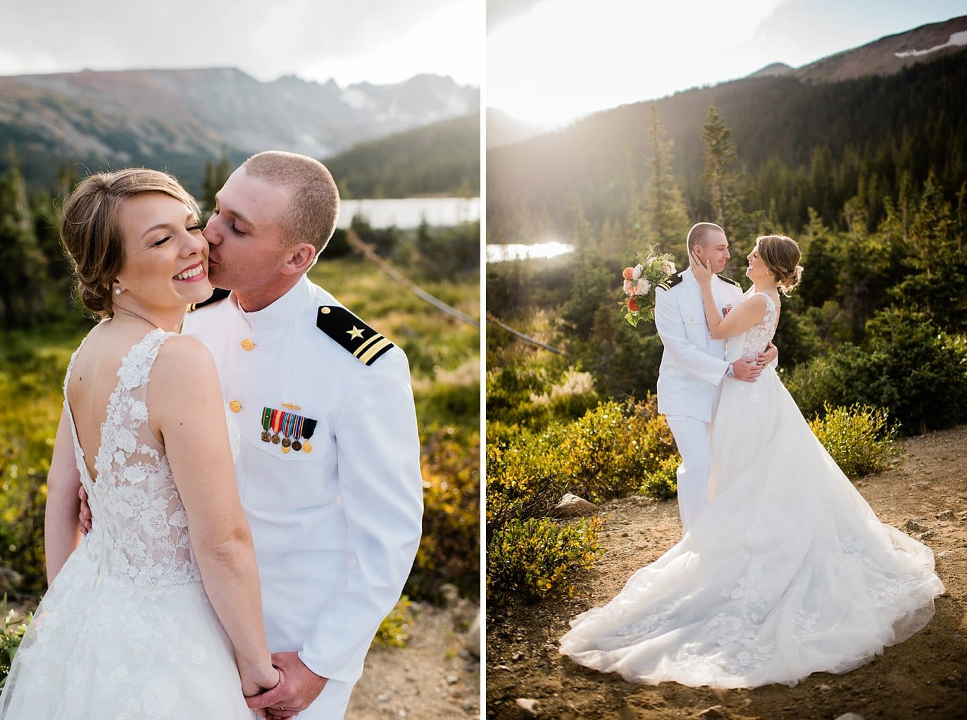 Romantic Long Lake Elopement with bride in lace ballgown and groom in military dress