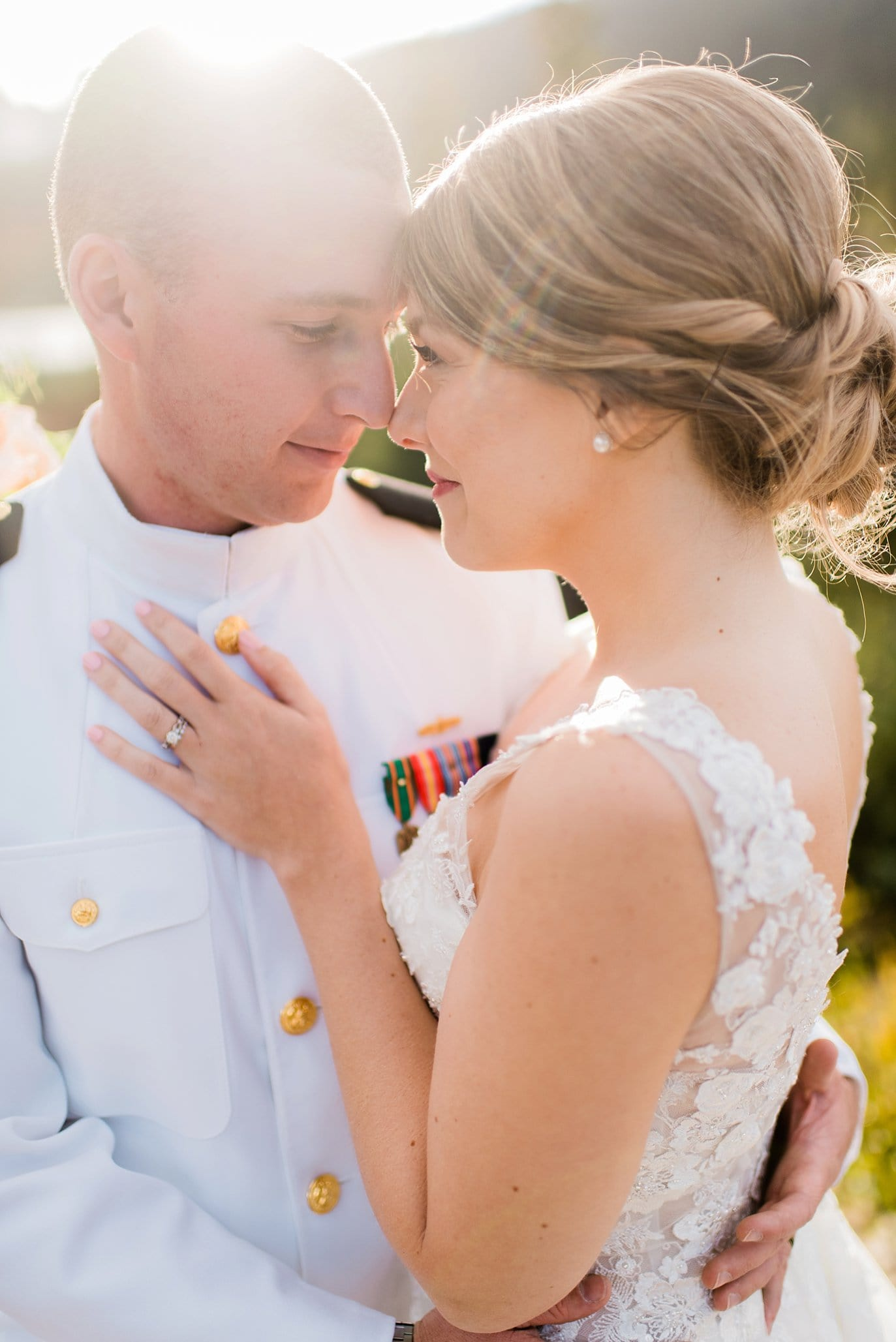 intimate moment at sunset Colorado military elopement