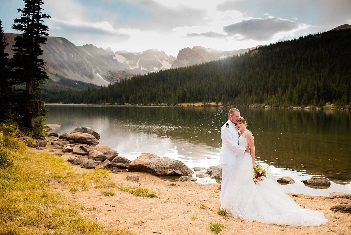 romanic bride and groom by Colorado lake