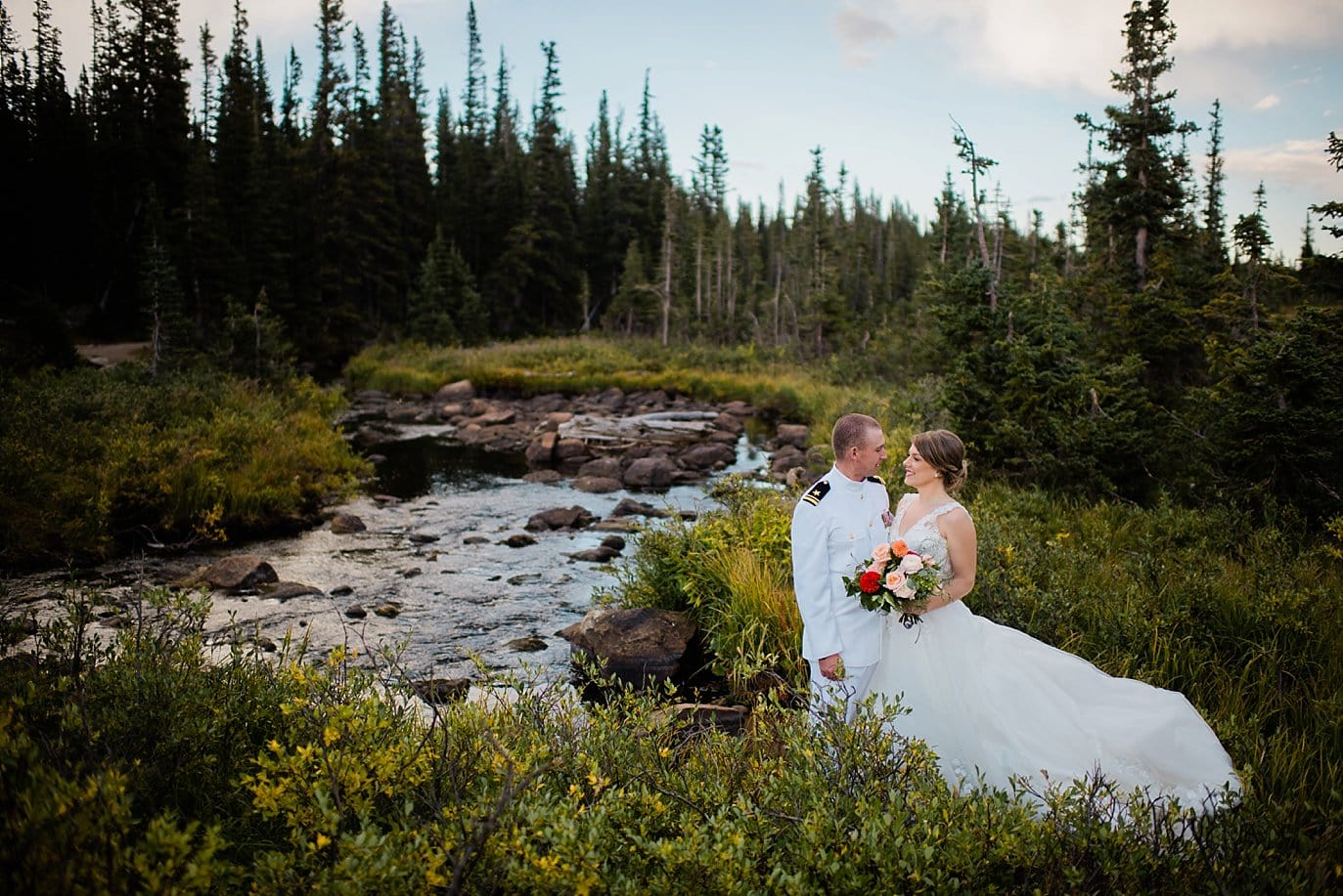bride and groom in military dress at Brainard Lake Recreation elopement