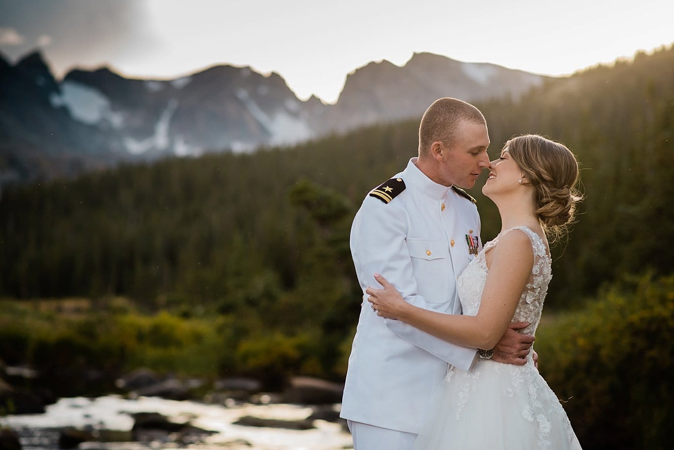 romantic sunset colorado elopement