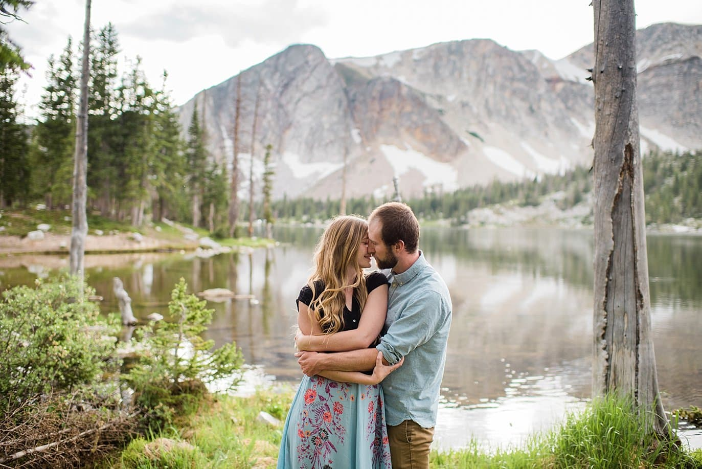 romantic engagement photo at Mirror Lake photo