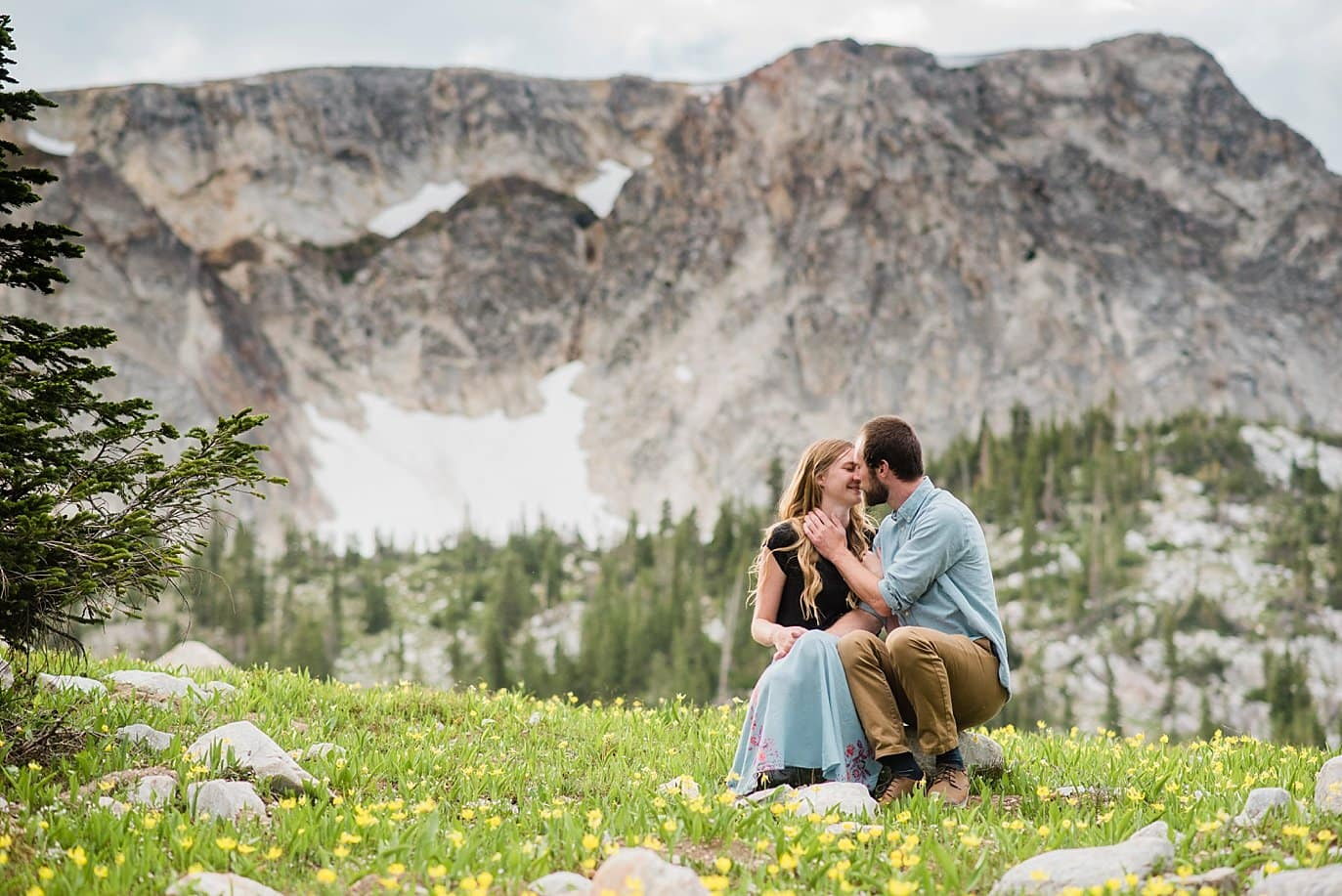 romantic Medicine Bow Wyoming engagement photo