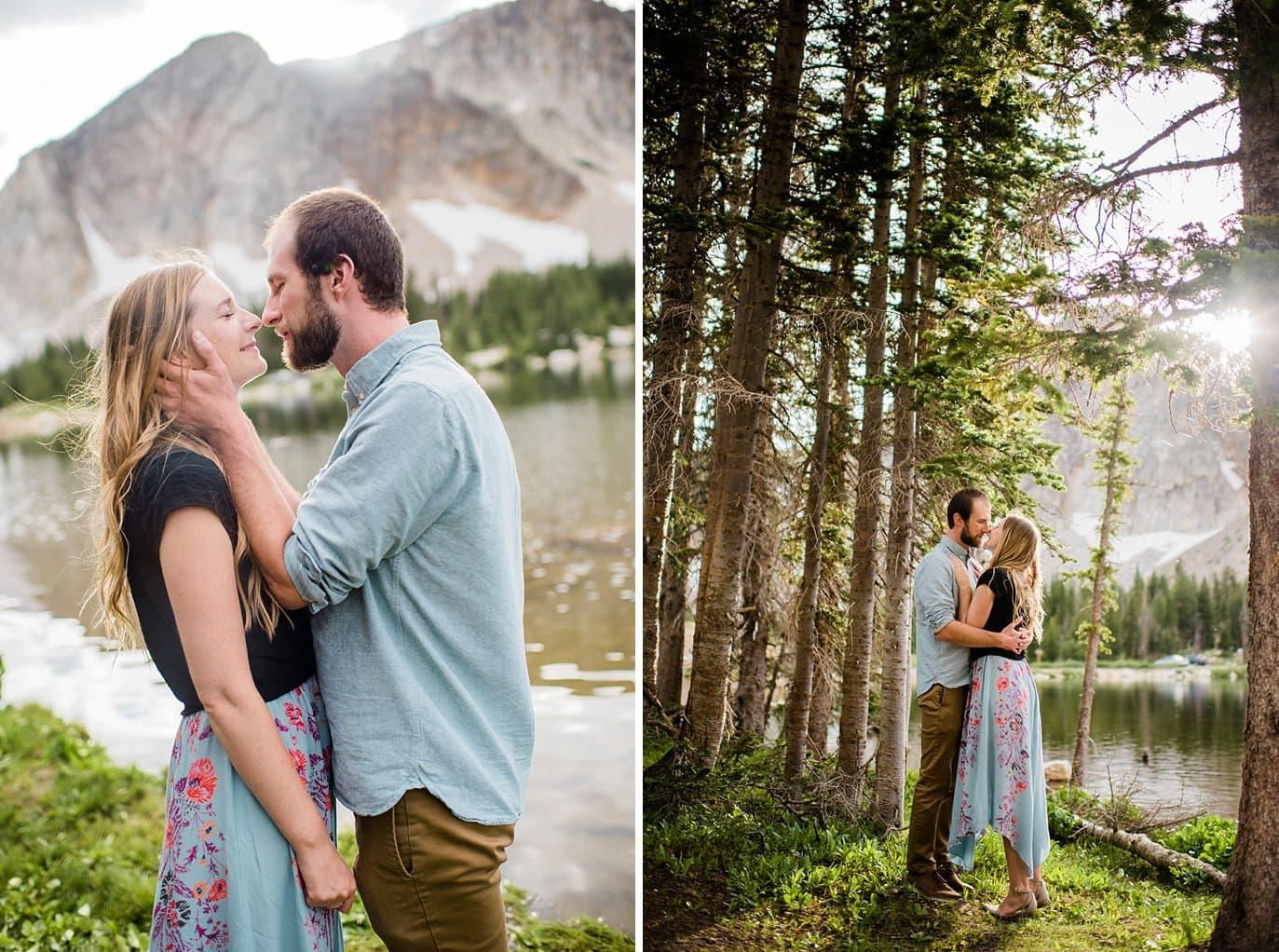 sunset engagement Mirror Lake Wyoming photo