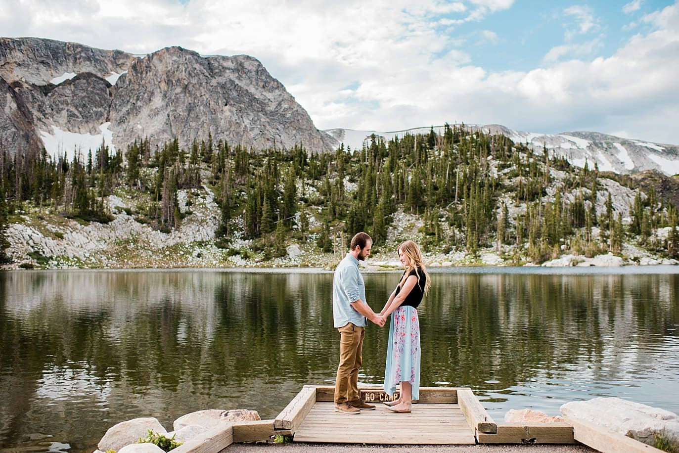 Mirror Lake summer Wyoming engagement photo