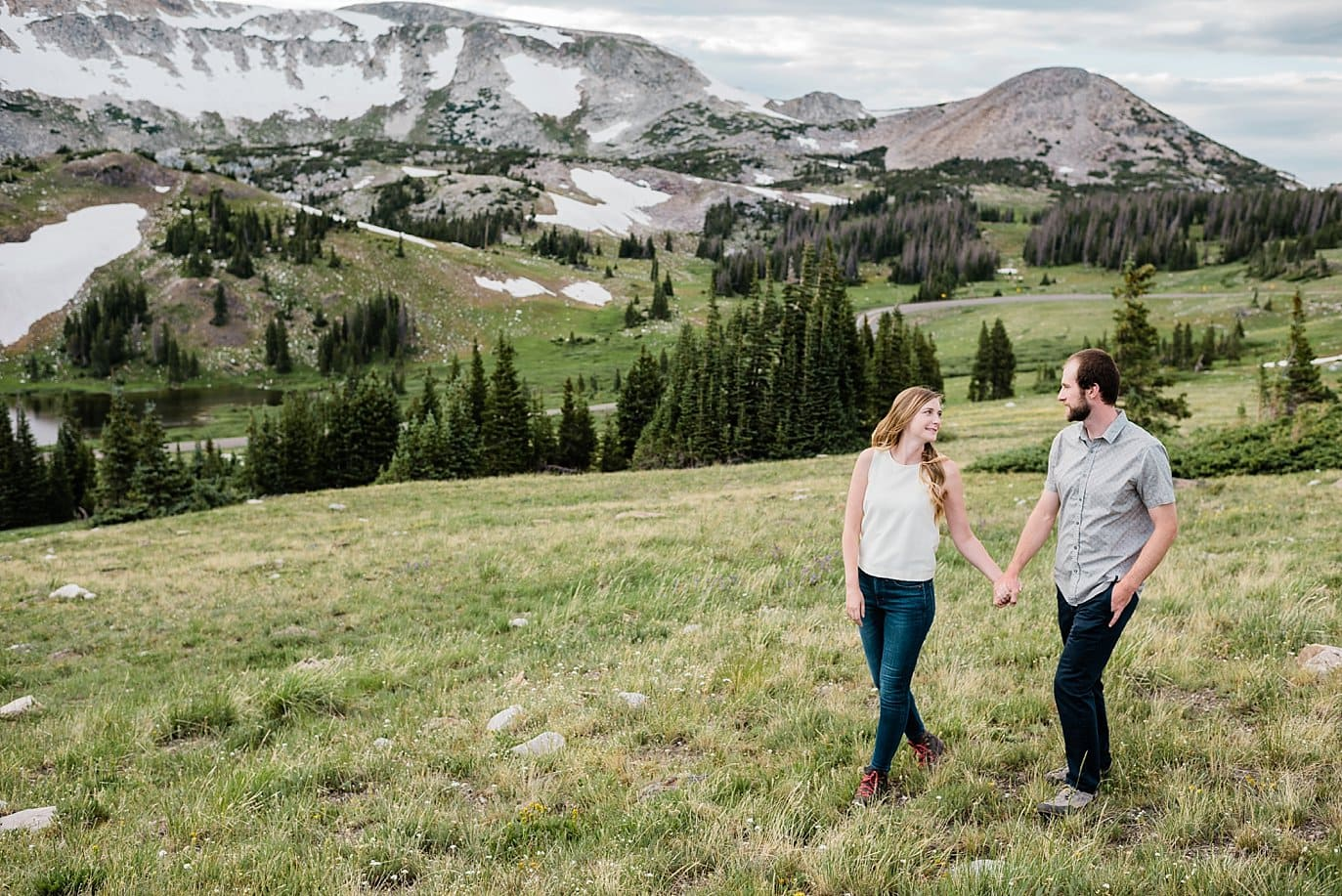 relaxed outdoor Wyoming engagement photo
