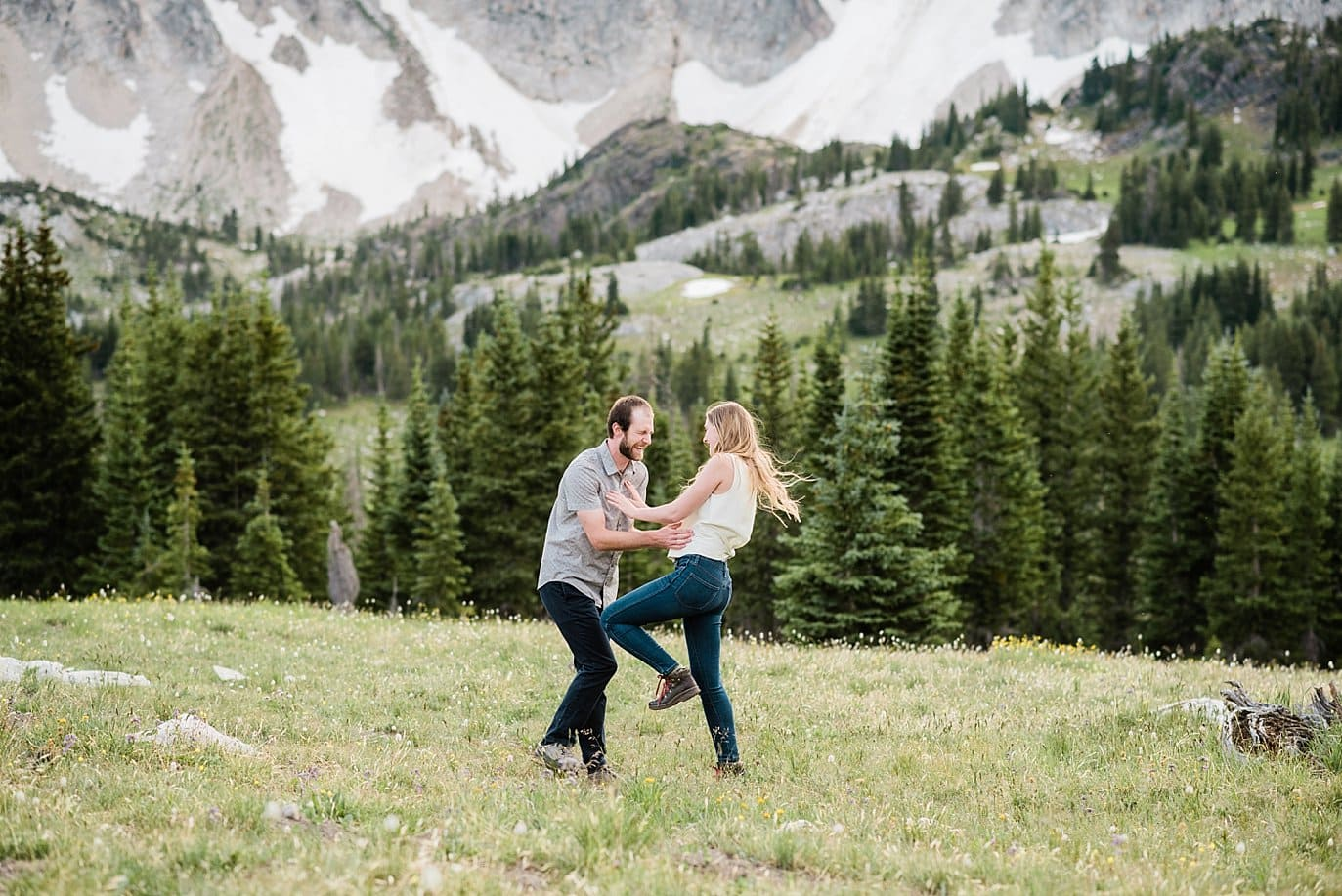 fun wyoming engagement photo