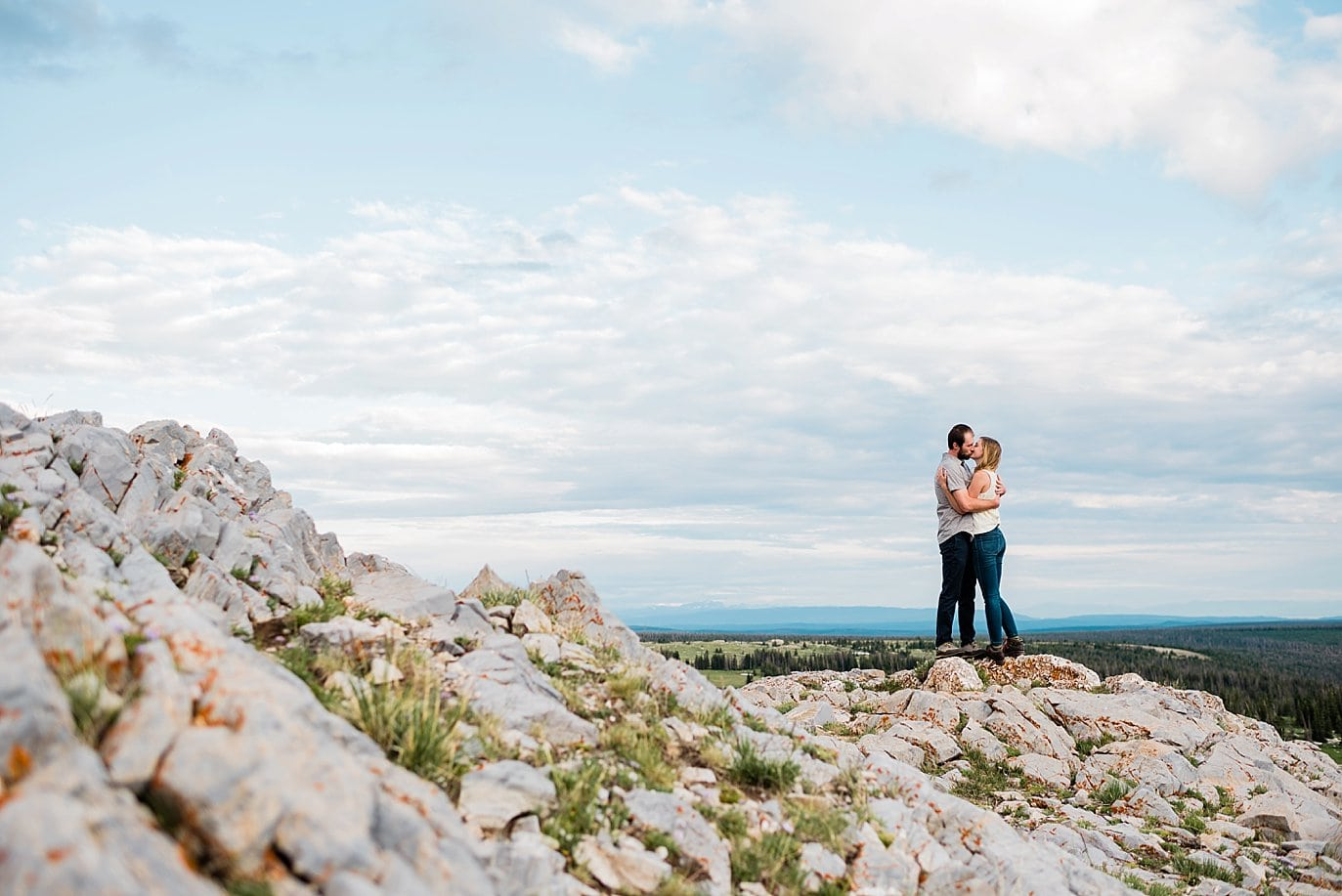 sunset rocky wyoming engagement photo
