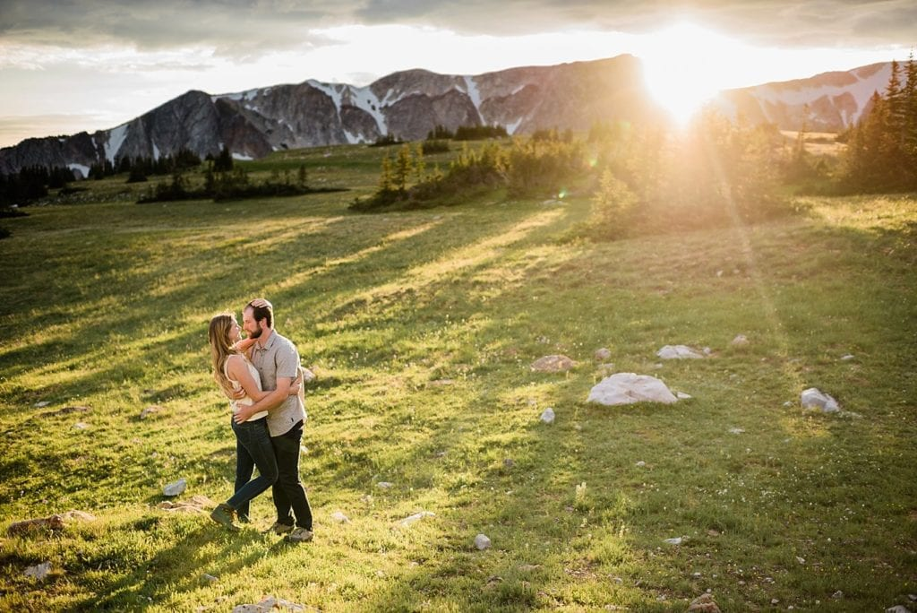 Sunset Medicine Bow National Forest engagement by Wyoming engagement photographer Jennie Crate