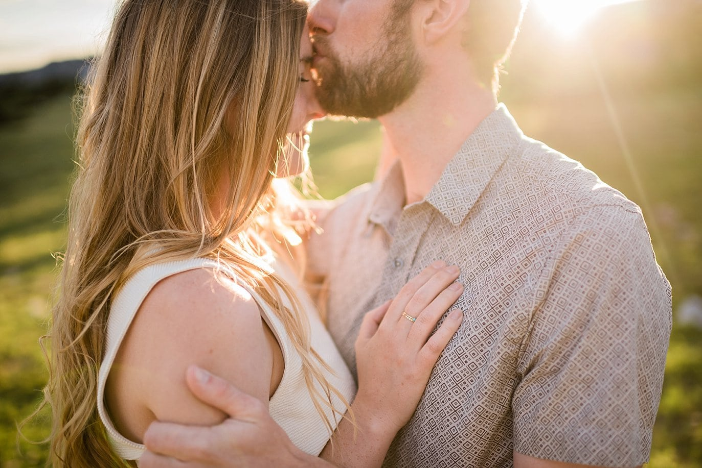 intimate sunset engagement photo