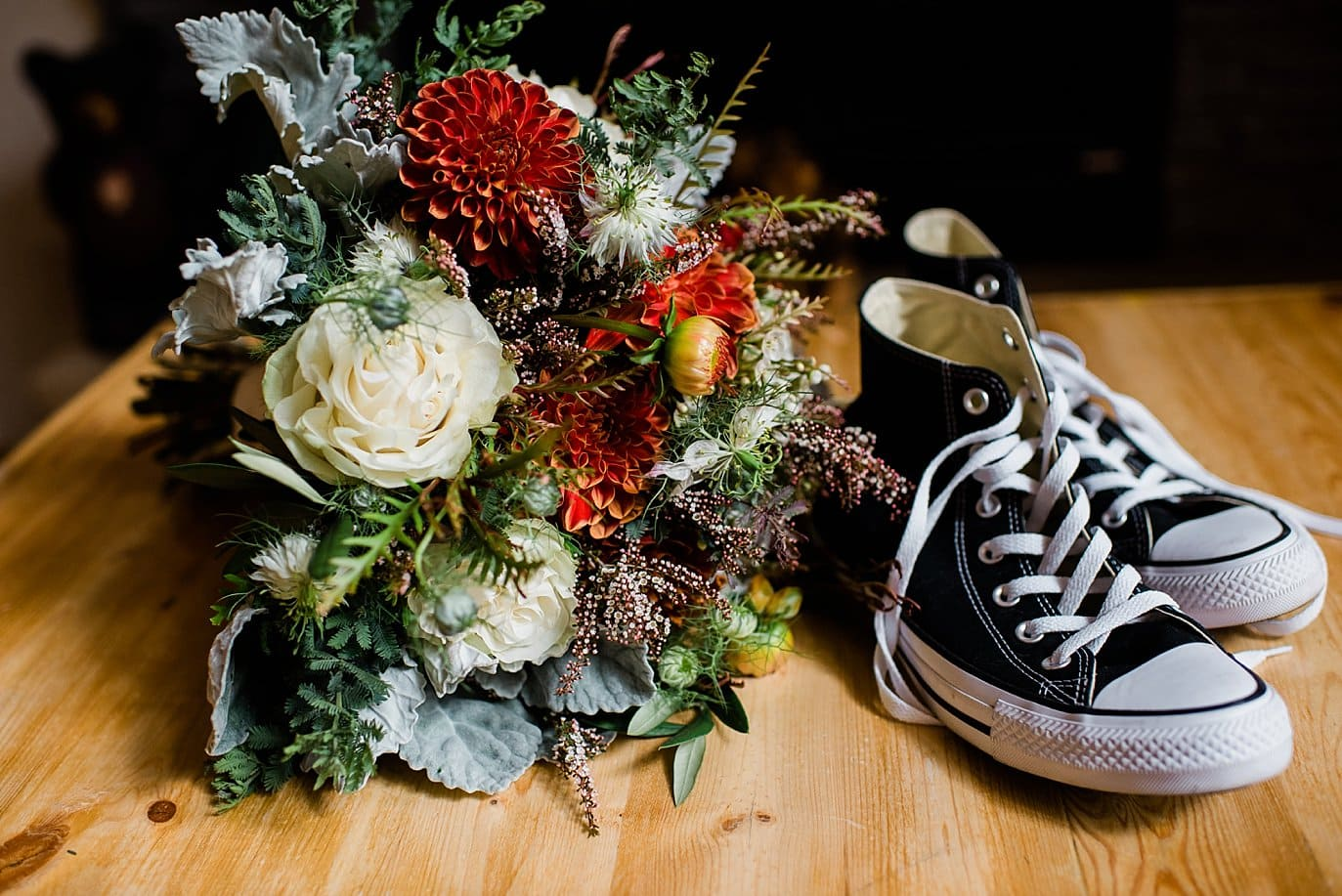 bride's black converse shoes at Rocky Mountain National Park Wedding by RMNP Wedding Photographer Jennie Crate
