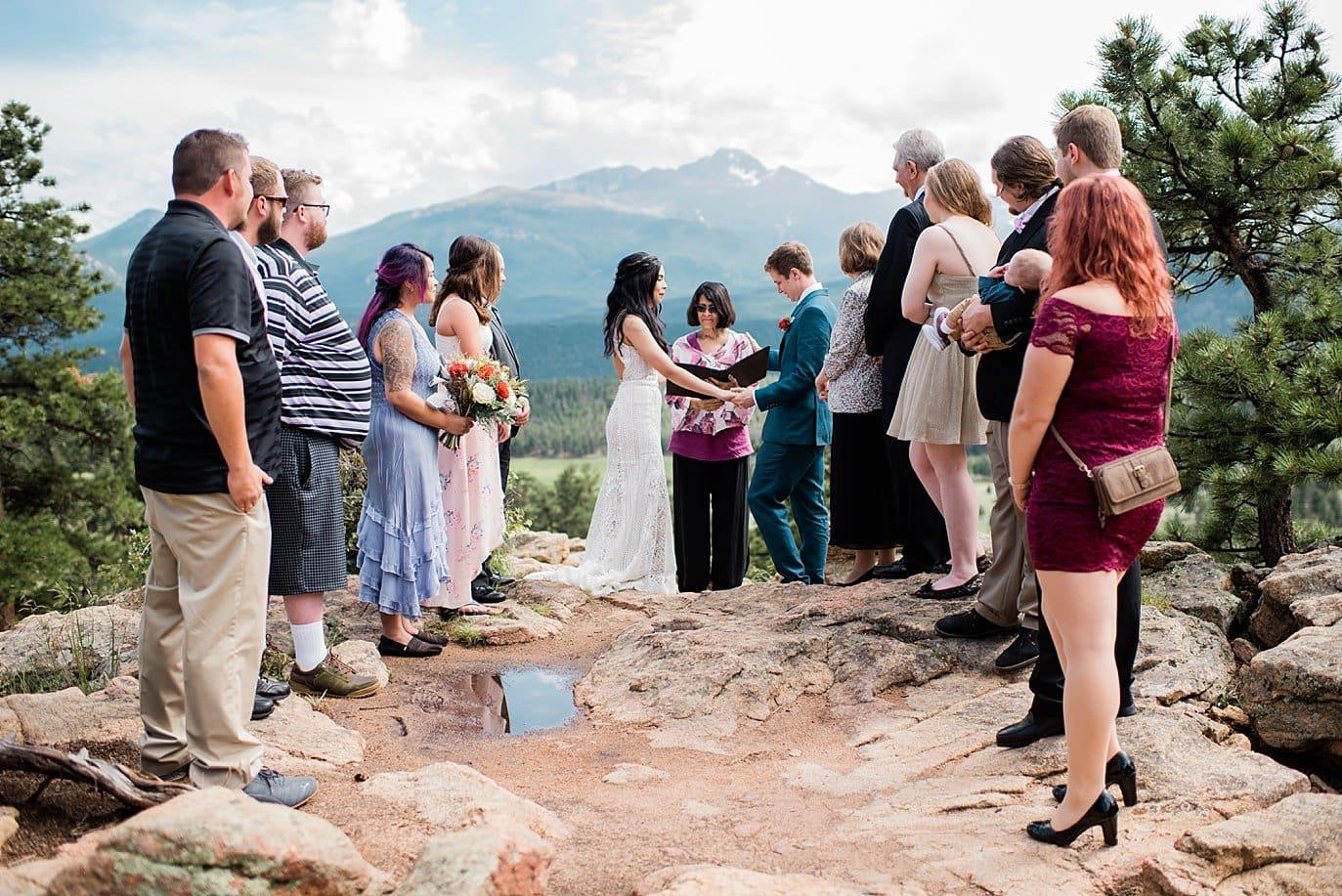 RMNP 3M Curve Wedding ceremony  at Rocky Mountain National Park Wedding by Denver Wedding Photographer Jennie Crate