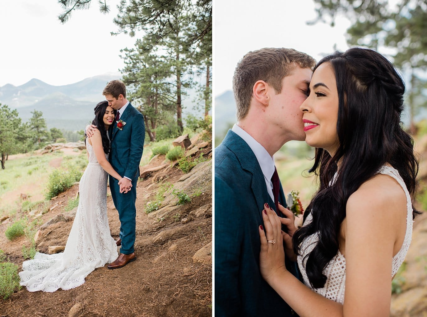 intimate Colorado outdoor couple at Rocky Mountain Estes Park wedding by Estes Park Wedding Photography Jennie Crate