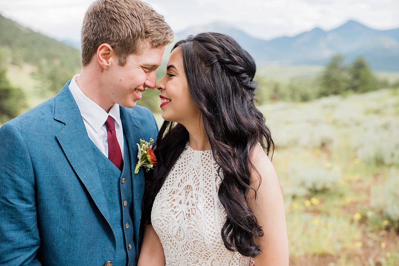 romantic bride and groom at Rocky Mountain National Park Wedding by Estes Park Wedding Photography Jennie Crate