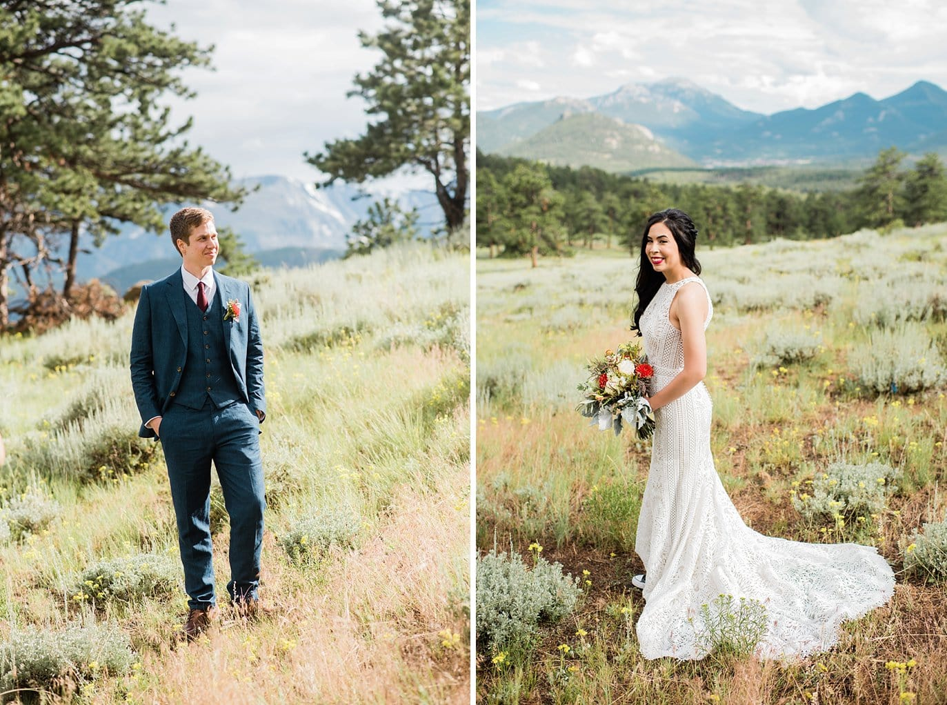 bride standing with mountains behind at Rocky Mountain National Park Wedding by Rocky Mountain Colorado Wedding Photographer Jennie Crate