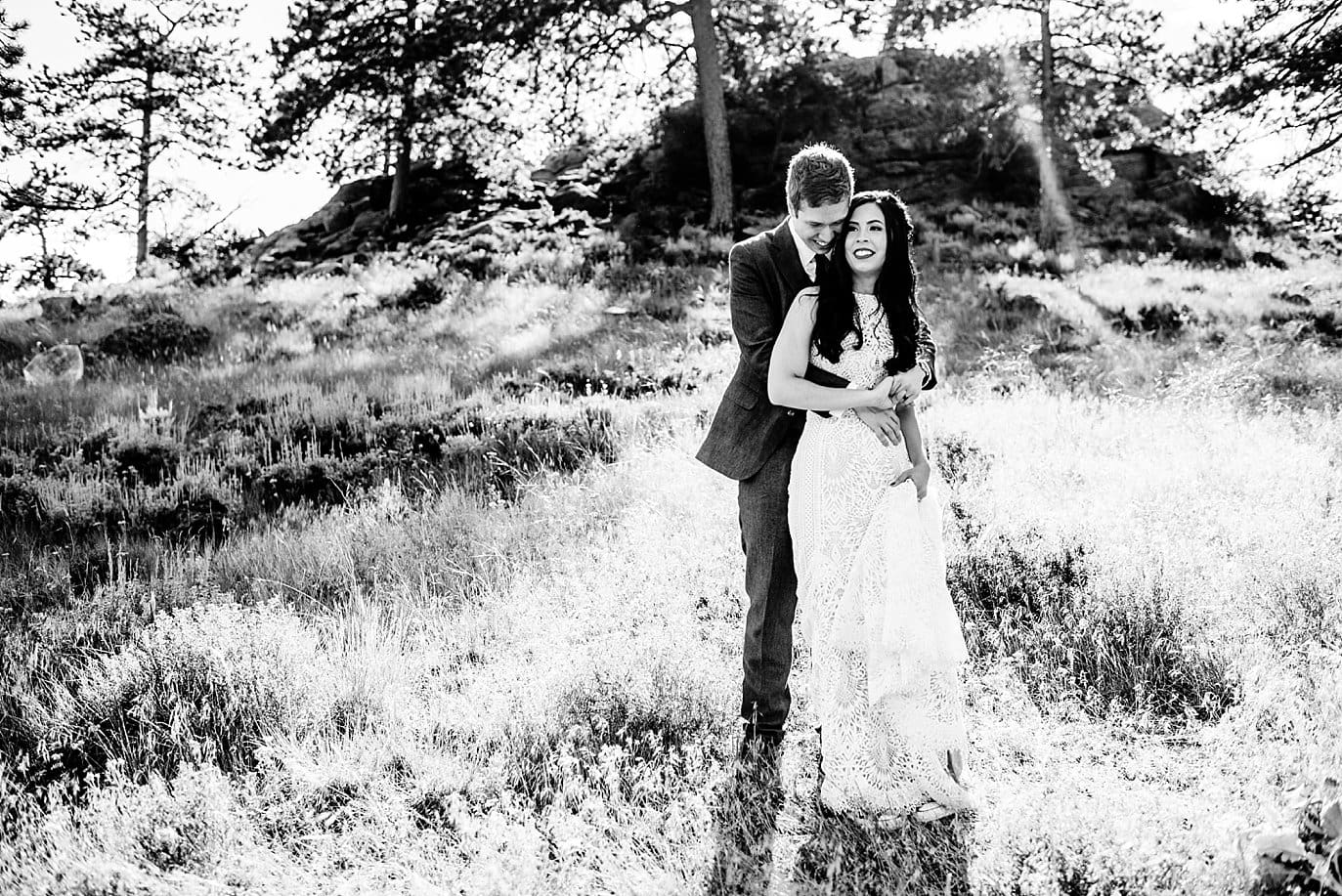 black and white Rocky Mountain National Park 3M Curve wedding by RMNP Wedding Photography Jennie Crate