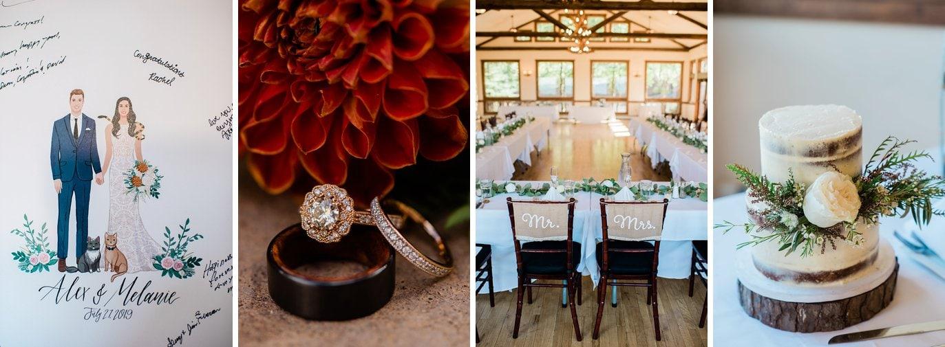 Taharaa Mountain Lodge reception decor at Rocky Mountain National Park Wedding by RMNP Wedding Photographer Jennie Crate