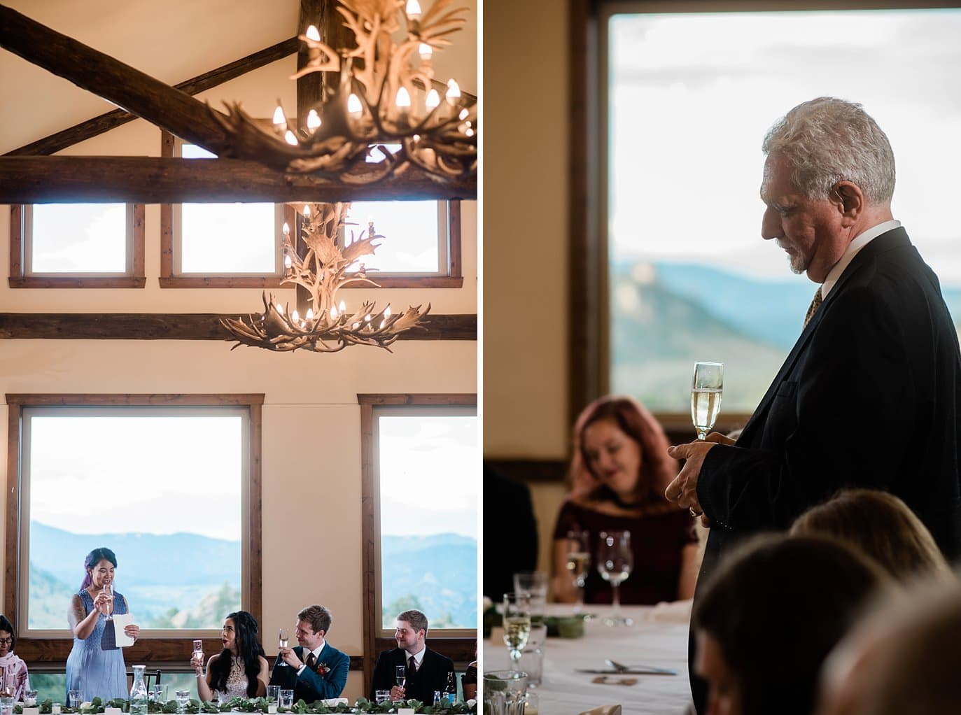 toasts at intimate Taharaa Mountain Lodge wedding  at Rocky Mountain National Park Wedding by Denver Wedding Photographer Jennie Crate