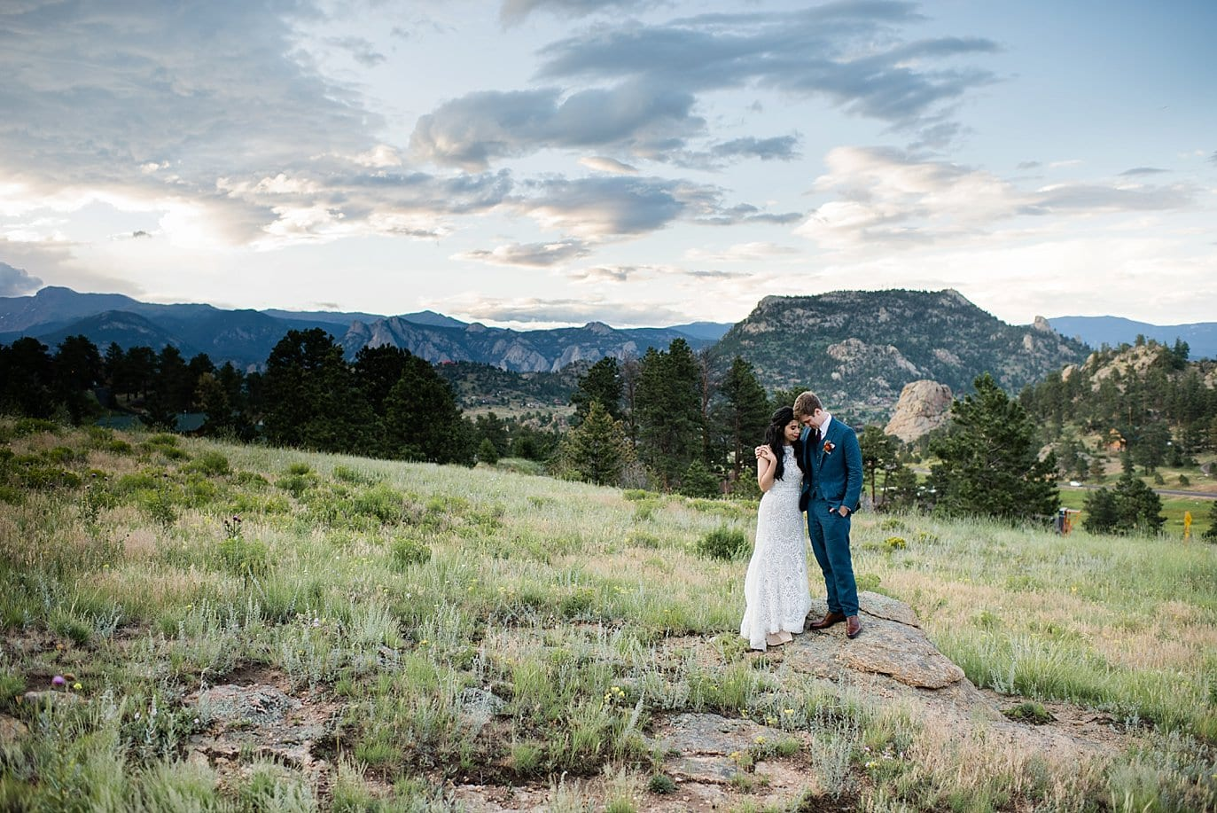 bride and groom at Rocky Mountain National Park 3M Curve wedding by RMNP Wedding Photography Jennie Crate