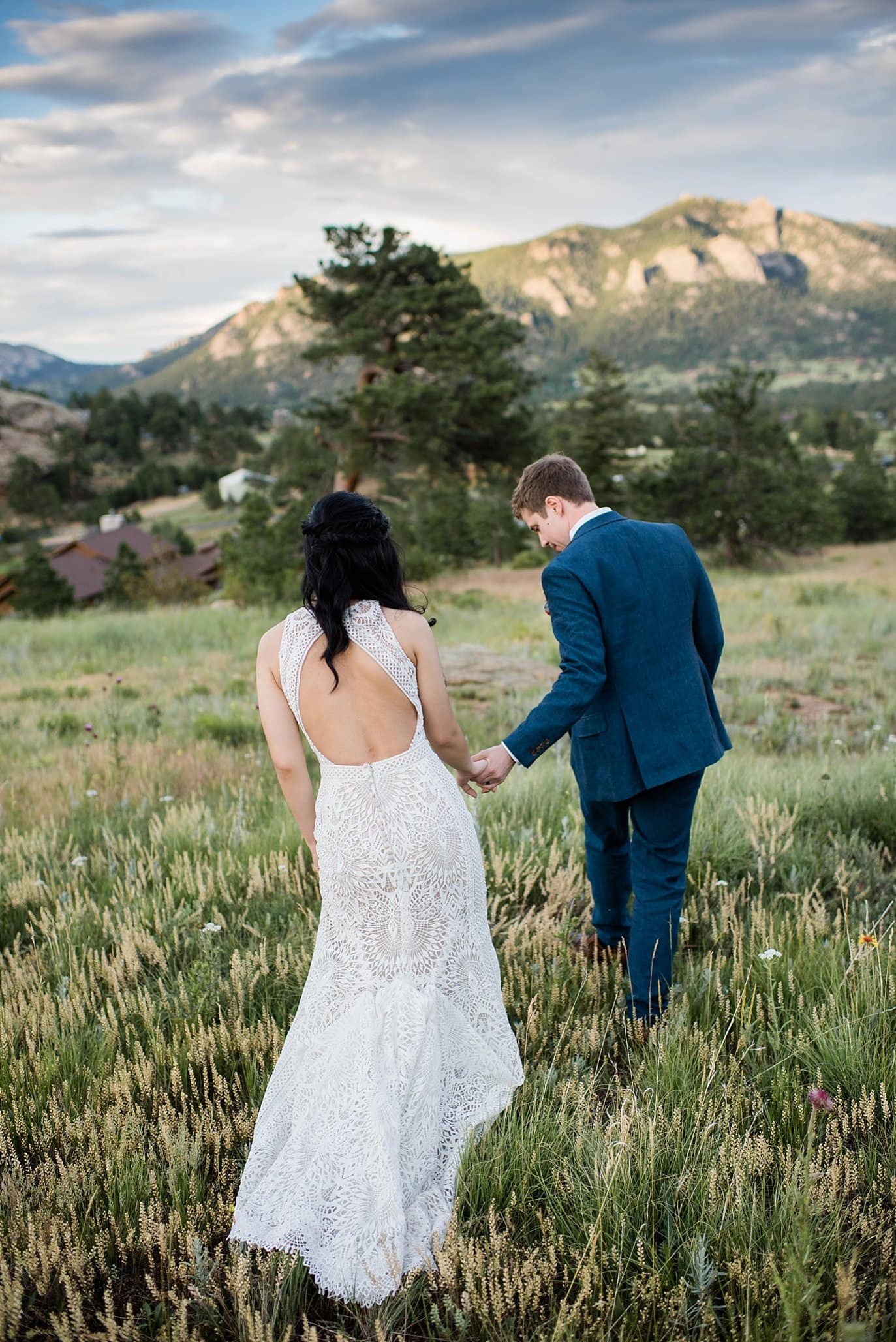 sunset photo at Taharaa Mountain Lodge Rocky Mountain National Park 3M Curve wedding by RMNP Wedding Photography Jennie Crate
