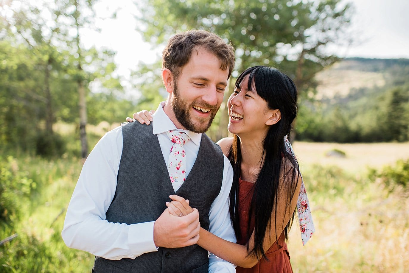 summer Rocky Mountain National Park engagement photo