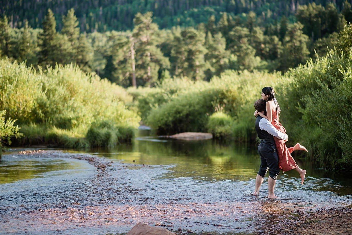 summer river engagement photo
