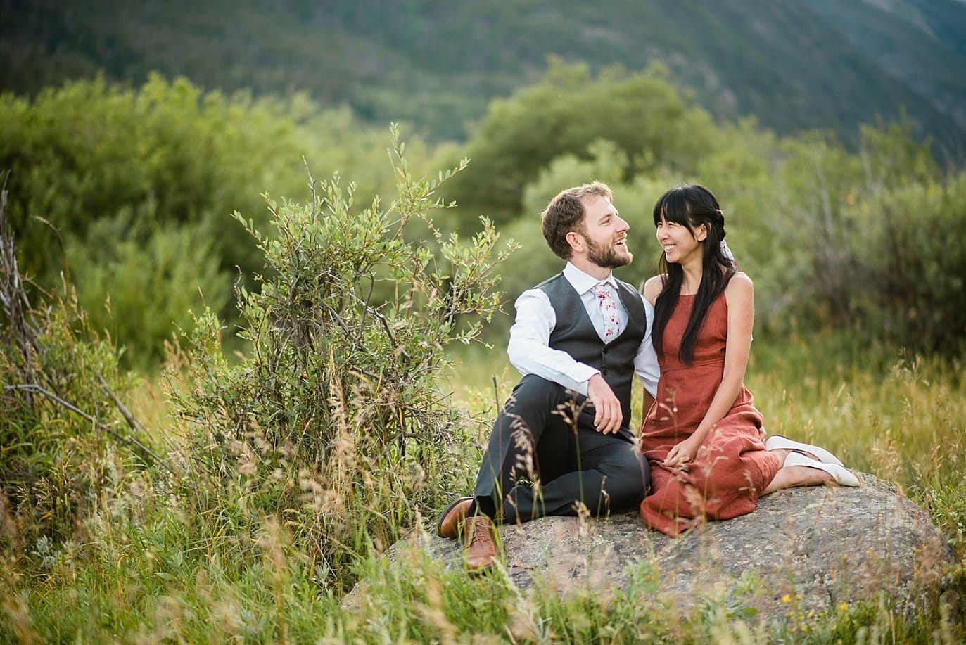 relaxed Rocky Mountain National Park Lawn Lake Trailhead engagement