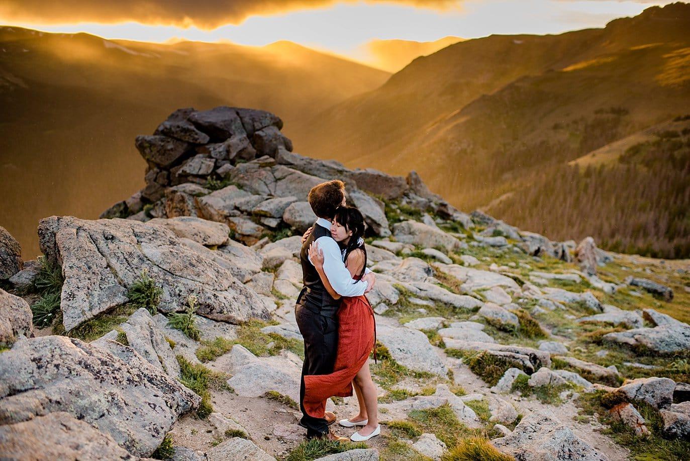 windy sunset Rocky Mountain National Park Engagement photo