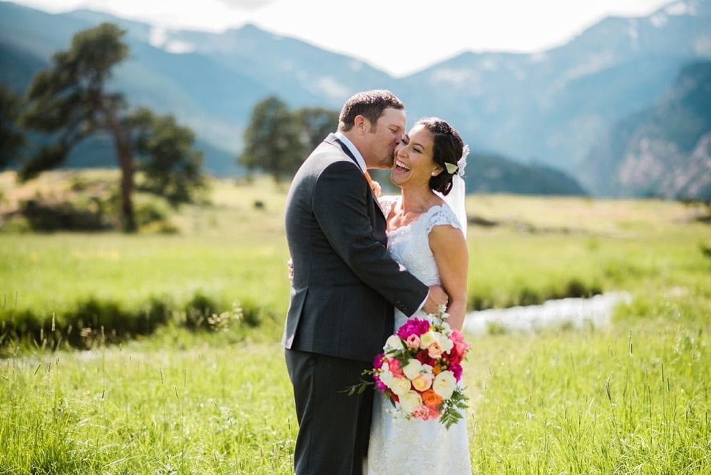 romantic RMNP wedding photo in Moraine Park by Rocky Mountain National Park wedding photographer Jennie Crate