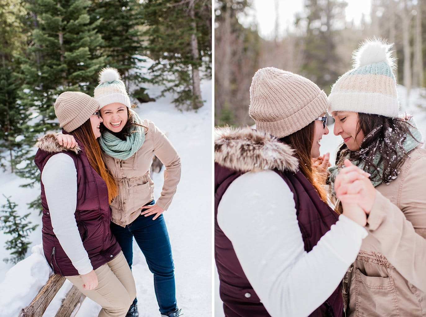 same-sex couple in snow at Alberta Falls Rocky Mountain National Park engagement by Denver engagement photographer Jennie Crate, Photographer