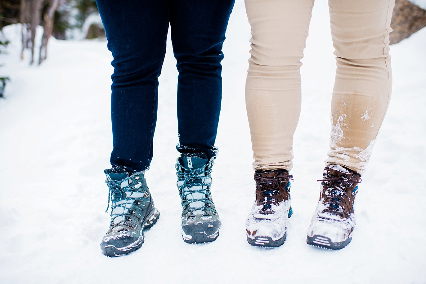 hiking boots in the snow during Alberta Falls Rocky Mountain National Park winter hiking engagement by Boulder engagement photographer Jennie Crate, Photographer