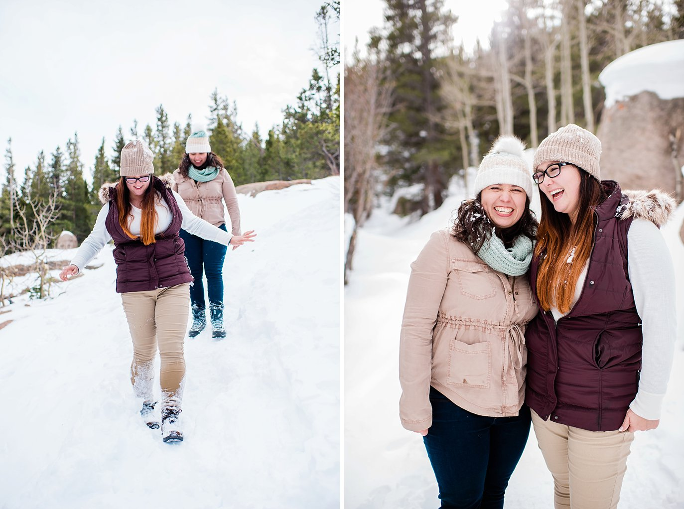 queer winter engagement Alberta Falls Rocky Mountain National Park winter hiking engagement by queer engagement photographer Jennie Crate, Photographer