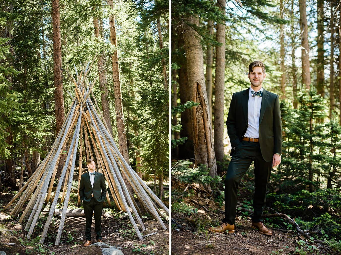 groom in olive suit in evergreen trees before first look at Arapahoe Basin wedding by Breckenridge wedding photographer Jennie Crate