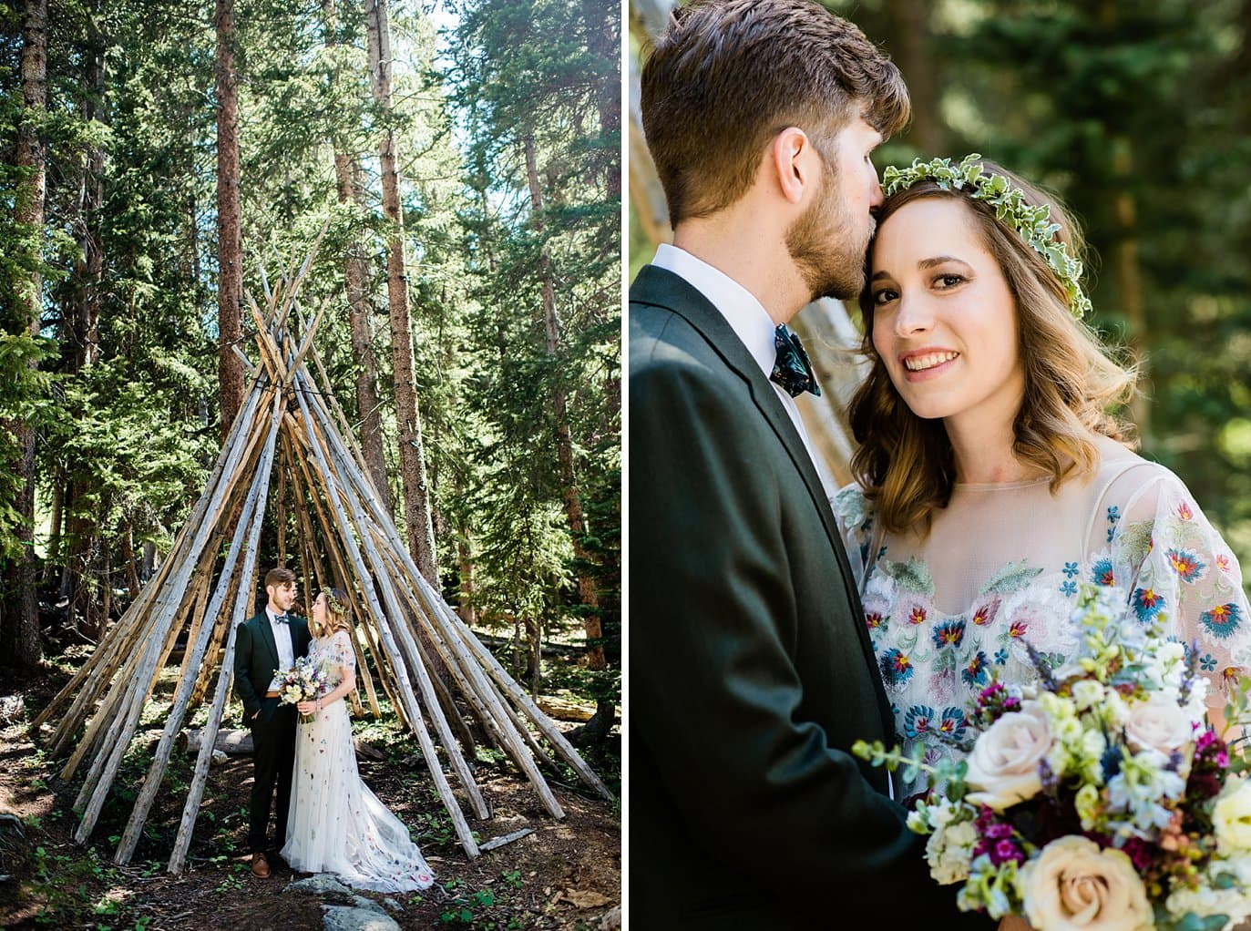 bride and groom in stick teepee at base of Arapahoe Basin at Arapahoe Basin wedding by Breckenridge wedding photographer Jennie Crate