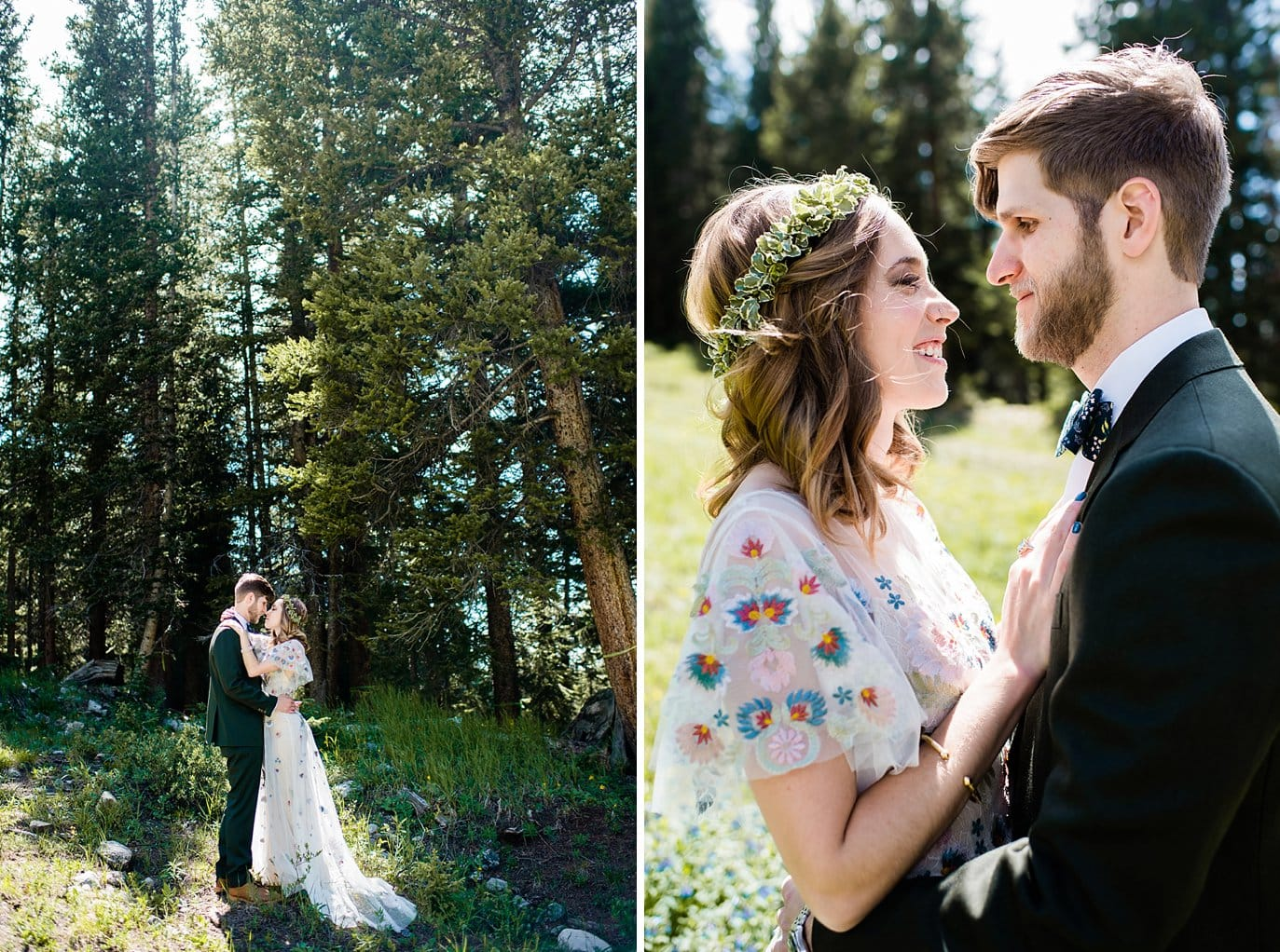 bride and groom in trees at base of mountain at Arapahoe Basin wedding by Frisco wedding photographer Jennie Crate