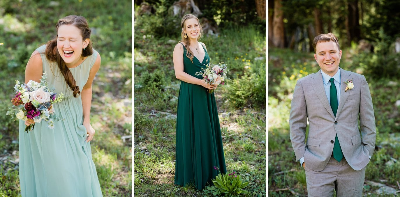 bridesmaids in green chiffon dresses and groomsmen in grey suite at Arapahoe Basin wedding by Rocky Mountain Wedding photographer Jennie Crate photographer