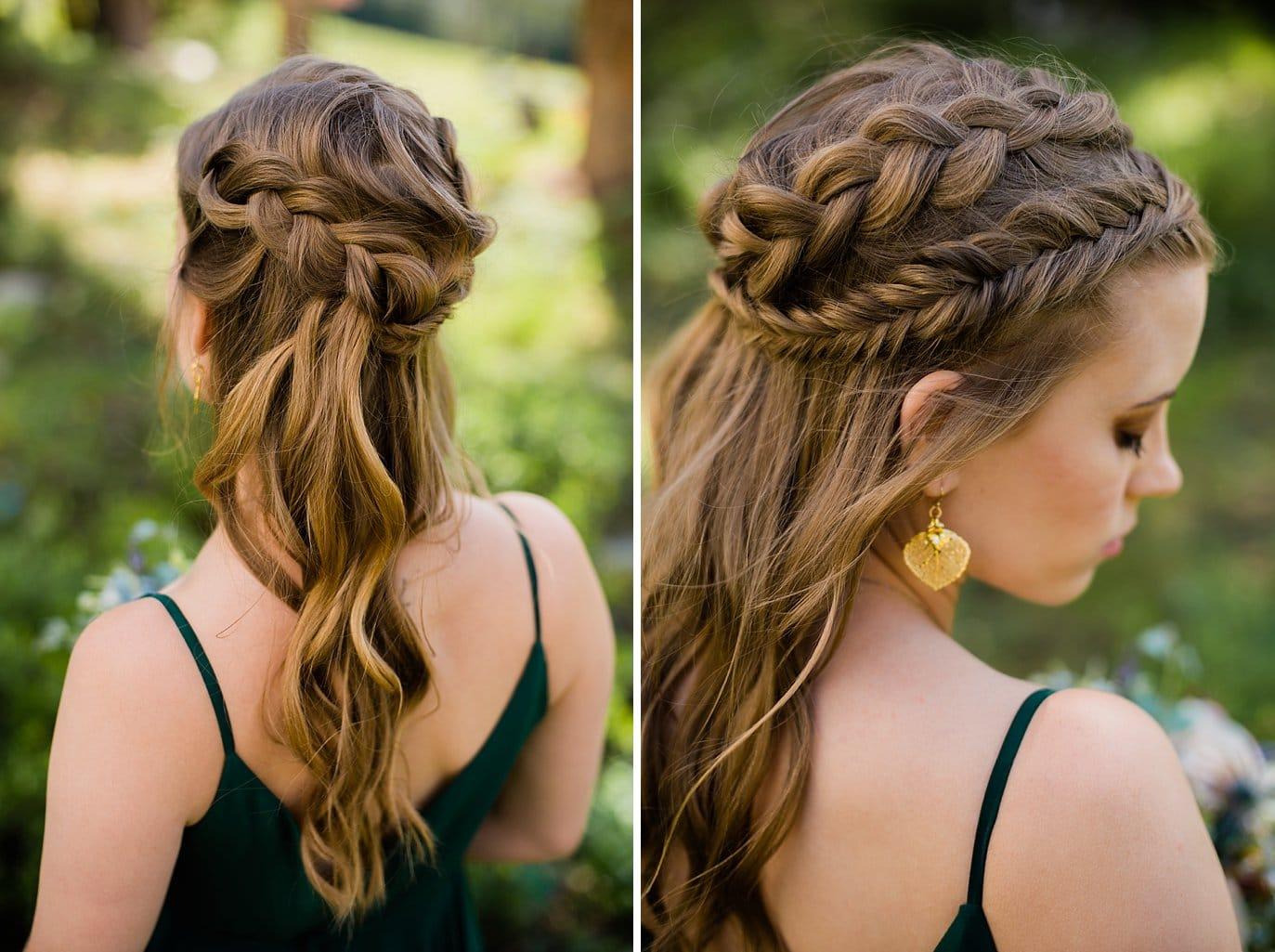 braided half up half down wedding hair at Arapahoe Basin wedding by Arapahoe Basin wedding photographer Jennie Crate photographer