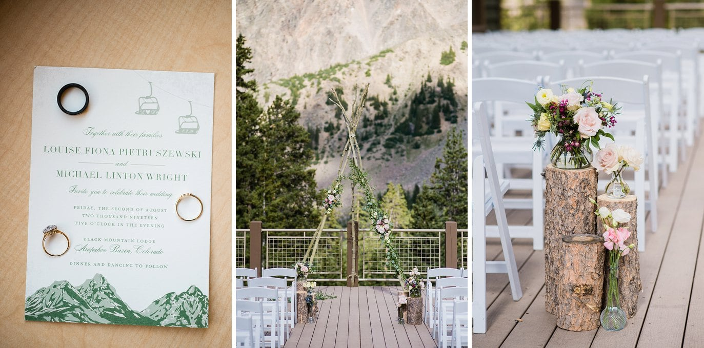 mountain wedding invitation and aspen tree ceremony arch on deck of Black Mountain Lodge at Arapahoe Basin wedding by Black Mountain Lodge wedding photographer