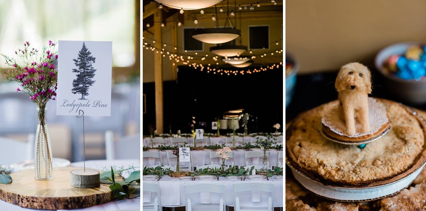wedding rustic centerpieces at Black Mountain Lodge at Arapahoe Basin wedding by Vail wedding photographer