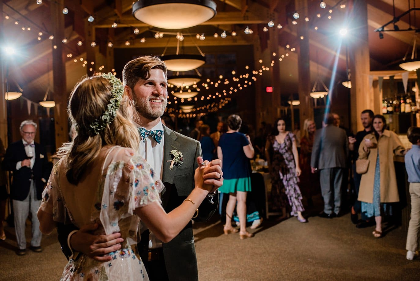 bride and groom first dance at Black Mountain lodge wedding by Keystone wedding photographer Jennie Crate Photographer